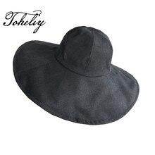 2018 Novo estilo moda Verão Grandes Senhoras brim verão tecido de Algodão  de secagem rápida chapéu 7fd7d0bea18