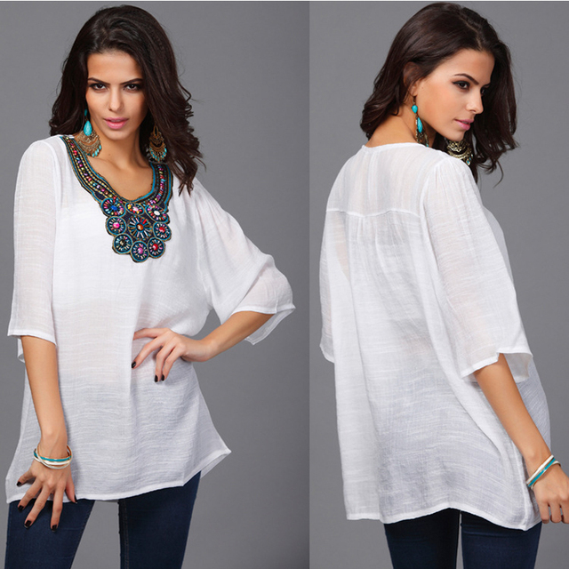 4fc67bc299a plus size women's boho blouse embroidery beach tunic summer tops korean  white shirt ladies style 5XL