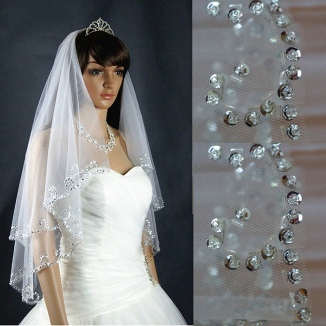 Beaded Elbow Bridal Veil Two Layer 2T Exquisite Sequin Wedding Hair Accessory with Comb