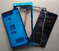 Full Housing Front Chassis Middle Frame Port Plug Cover Back Battery Cover Sticker For Sony Xperia