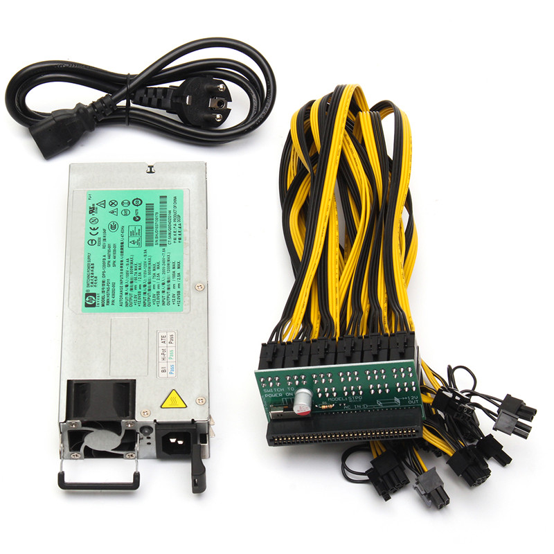 DPS 1200FB 1200W Power Supply + Breakout Adapter 10 Cables For Ethereum Mining Miner Power Supply Computer Components