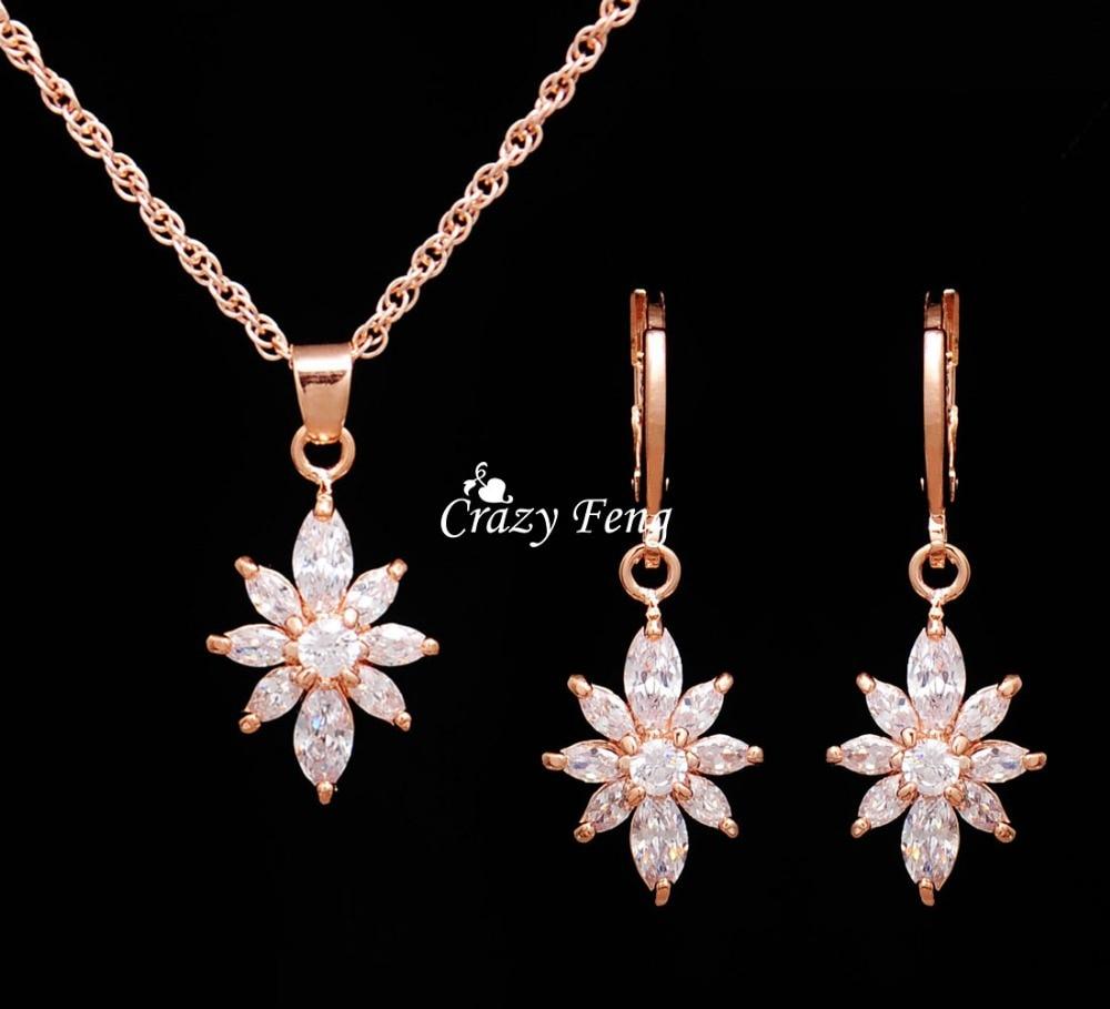 New Zircon Crystal Pendant Necklace Earrings Bridal Jewelry