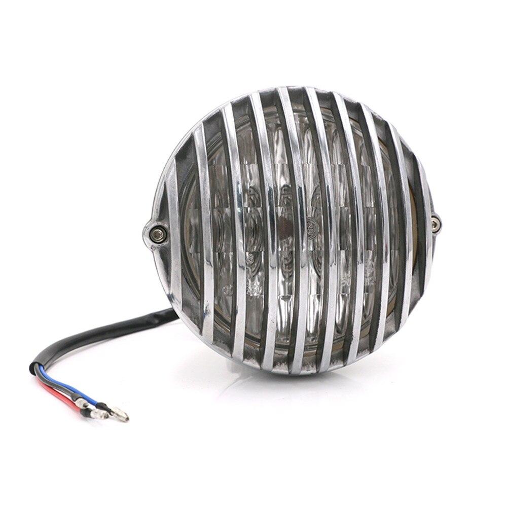 Noir/Chrome festonné phare moto rétro à ailettes gril phare 5