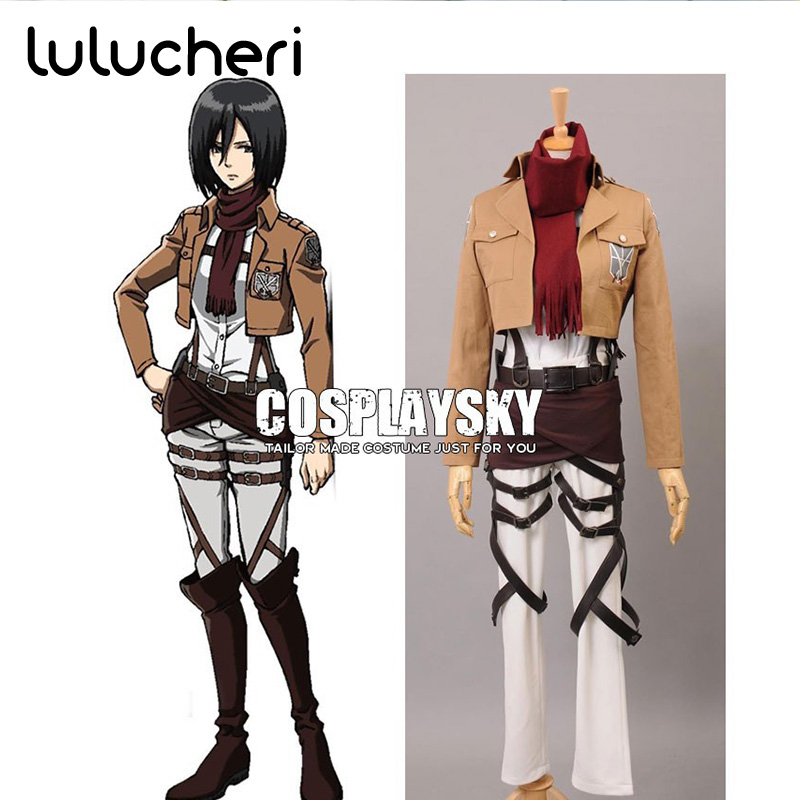 Shingeki no Kyojin Attack on Titan Mikasa Ackerman Cosplay Costumes Customized Top+Short+Scarf Cosplay Costume Clothes Dress Set