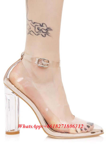 aa182f534bd9 Sexy Fashion Designer Stunning See-thru Heels Clear PVC Lucite Block Heel  Pumps Ankle Strap