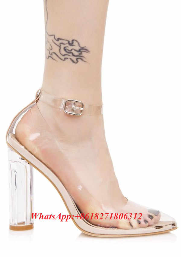 e41a1e29f84 ... Sexy Fashion Designer Stunning See-thru Heels Clear PVC Lucite Block  Heel Pumps Ankle Strap ...