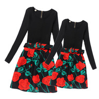 Fashion Mother And Daughter Dresses Teens Girls Flower Dress Girls Long Sleeve Clothes 2017 Family Matching