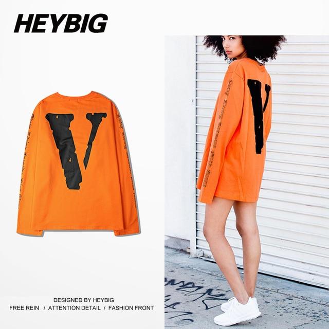 Vlone HEYBIG hip hop T-shirts 16s Fall new arrival Men Long-sleeved Tee oversized Drop-shoulder Hot design Tops Asian SIZE!