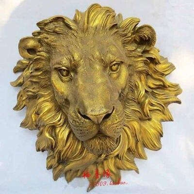 West Art pure BRASS sculpture carvings fierce beast of prey lion head statue Garden Decoration 100% real Brass