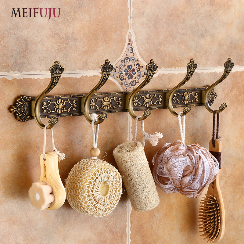 MEIFUJU Vintage Bathroom Hooks Aluminium Antique Robe Hook Bronze Metal Coat Hooks Modern Wall Hangers for Clothes Carving Hook цена