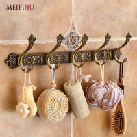 MEIFUJU Vintage Bathroom Hooks Aluminium Antique Robe Hook Bronze Metal Coat Hooks Modern Wall Hangers for Clothes Carving Hook