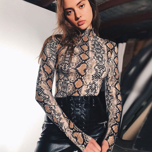 Vintage Serpentine Print Slim Bodysuits Women Sexy Long Sleeve Wild Rompers Streetwear Ladies Sexy Club Jumpersuits High Quality