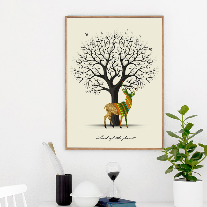 Nordic Abstract Cute Wood Rings Animal Deer A2 A3 A4 Canvas Art Painting Poster Print Picture Wall Baby Room Bedroom Home Decor in Painting Calligraphy from Home Garden