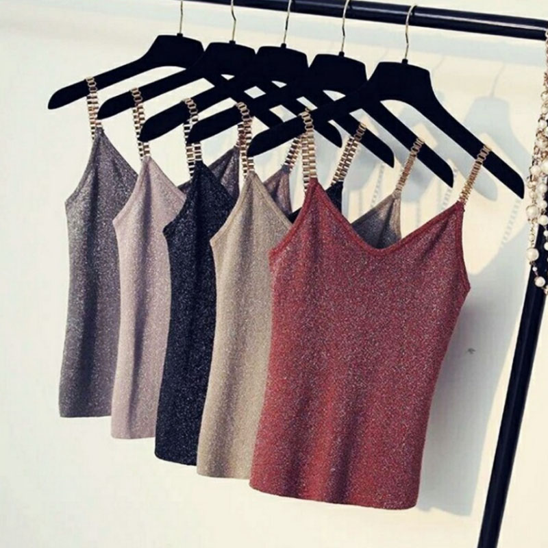 V-Neck Female Metal Strap Sleeveless Tank Tops Camisole Knitted 5Colors 1PC Women Sexy Spaghetti
