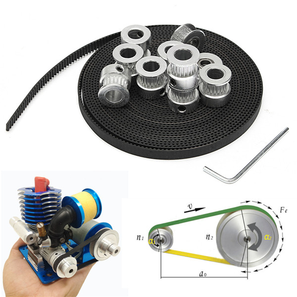 8Pcs GT2 20T Bore 8mm Timing Pulley+ 5m Belt +20T 5mm Tensioner +Wrench Durable Power Transmission Parts zinbest 20t