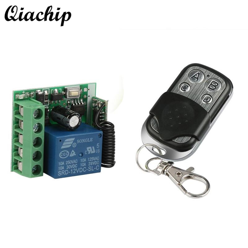 433MHz DC 12V 4CH RF Relay Wireless Transmitter Remote Control Switch 433 mhz Learning Button Garage Door Opener Remote Controls new dc 12v 10a 4ch rf wireless relay remote control switch 315mhz 433mhz transmitter