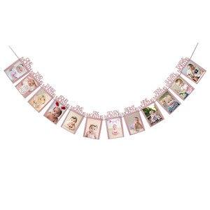 Image 4 - 1st Verjaardag Meisje Party Decoraties Roze Gelukkige Verjaardag Ballonnen Set 12 Maanden Fotolijst Banner Eerste Baby Mijn 1 Een jaar Diy