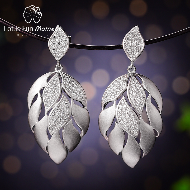 Lotus Fun Moment Real 925 Sterling Silver Natural Designer Fine Jewelry Luxury Aster Flower Petals Dangle Earrings for Women