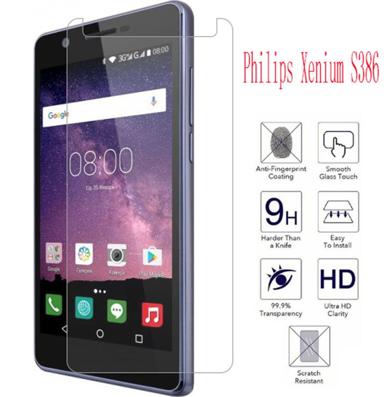10PCS NEW Screen Protector phone For Philips Xenium S386 phone Tempered Glass SmartPhone Film Protective Screen Cover