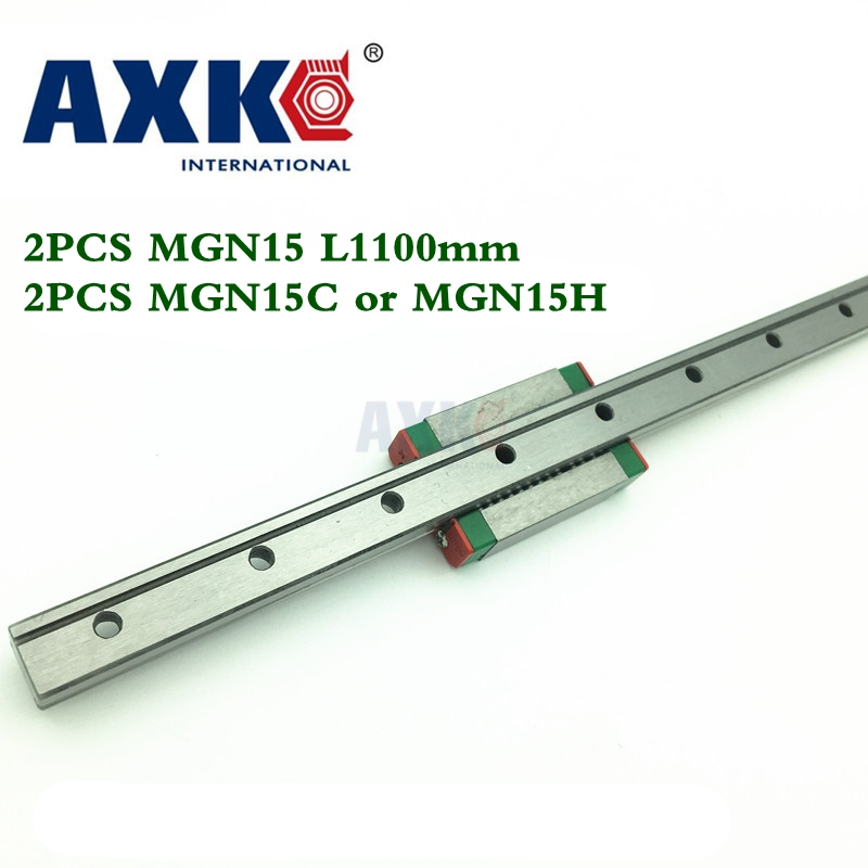 Axk 15mm Linear Guide 2pcs Mgn15 L= 1100mm + 2pcs Mgn15c Or Mgn15h Linear Rail Way + Mgn15h Long Linear Carriage For Cnc linear rail cnc router parts axk 1pc 15mm width 250mm mgn15 linear guide rail 2pc mgn mgn15c or mgn15h blocks carriage cnc