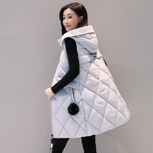 2016 Women Winter Vest women Waistcoat Womens Long Vest Sleeveless Jacket Faux fur ball Hooded Down Cotton Warm Vest Female цена
