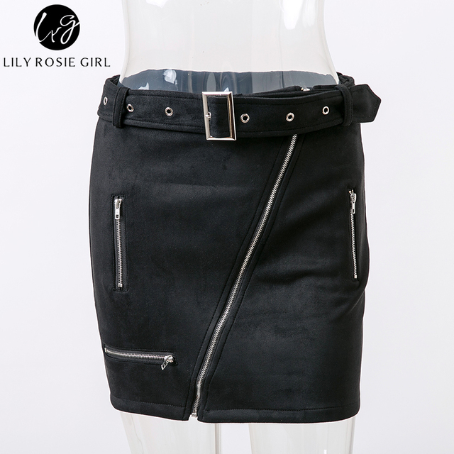 Lily Rosie Girl Sexy Summer Suede Women Skirt Zipper Sashes Double Pocket Party Short Mini Elegant Ladies Skirts