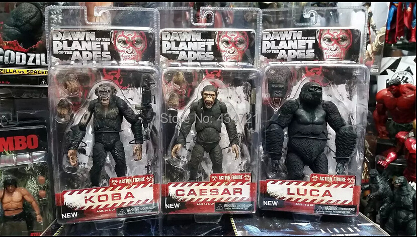 3pcs Hot Sci Fi Movie Dawn of the Planet of the Apes Caesar Koba Luca NECA Ver.2 Action Figure Toys 7 New Box