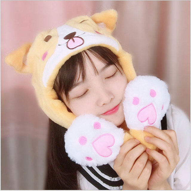 YunNasi DouYin Plush Corgi Hoodie Moving Ear Hat Pinching Kawaii Hat Corgi Dog Hoody Stuffed Animal Toys For Girls Birthday Gift