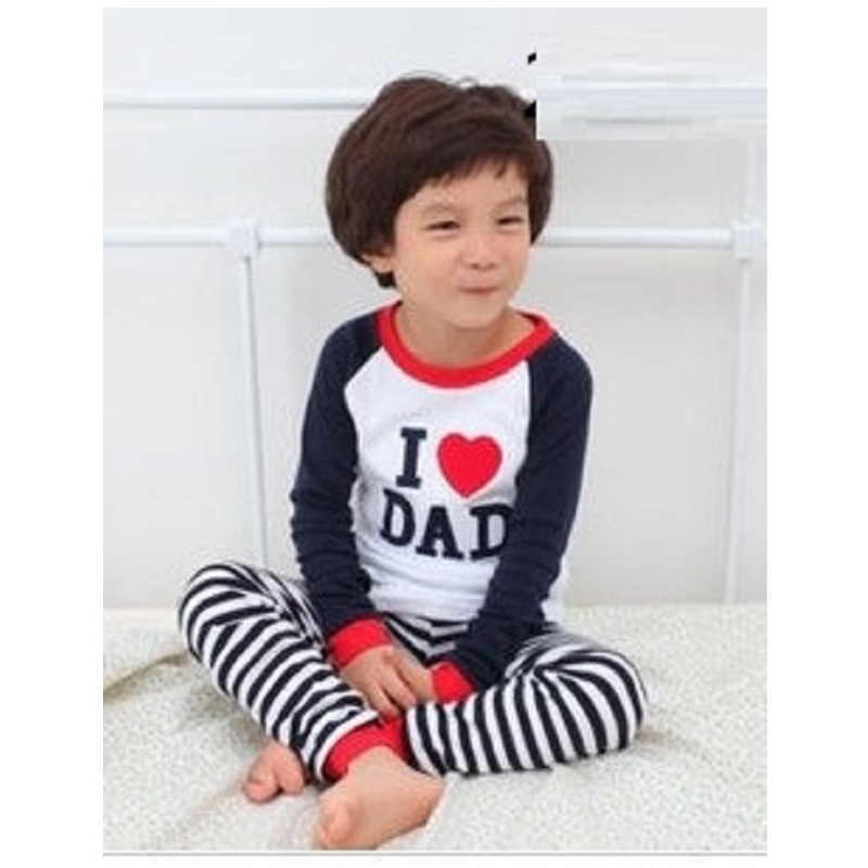 все цены на 2018 Children Pajamas suits Boys Sleepwear Kids pyjamas home clothes I Love Dad Baby Clothing Nightdress Tee Shirt Stripe Pants