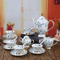 European style Ceramic Coffee Sets Bone China Coffee Pot Cups Saucers Set 15 Pcs Sets China Porcelain Tea Set Free Shipping
