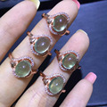 Natural green prehnite gem Ring Natural olivine  stone Ring S925 sterling silver trendy big round women girl party gift Jewelry