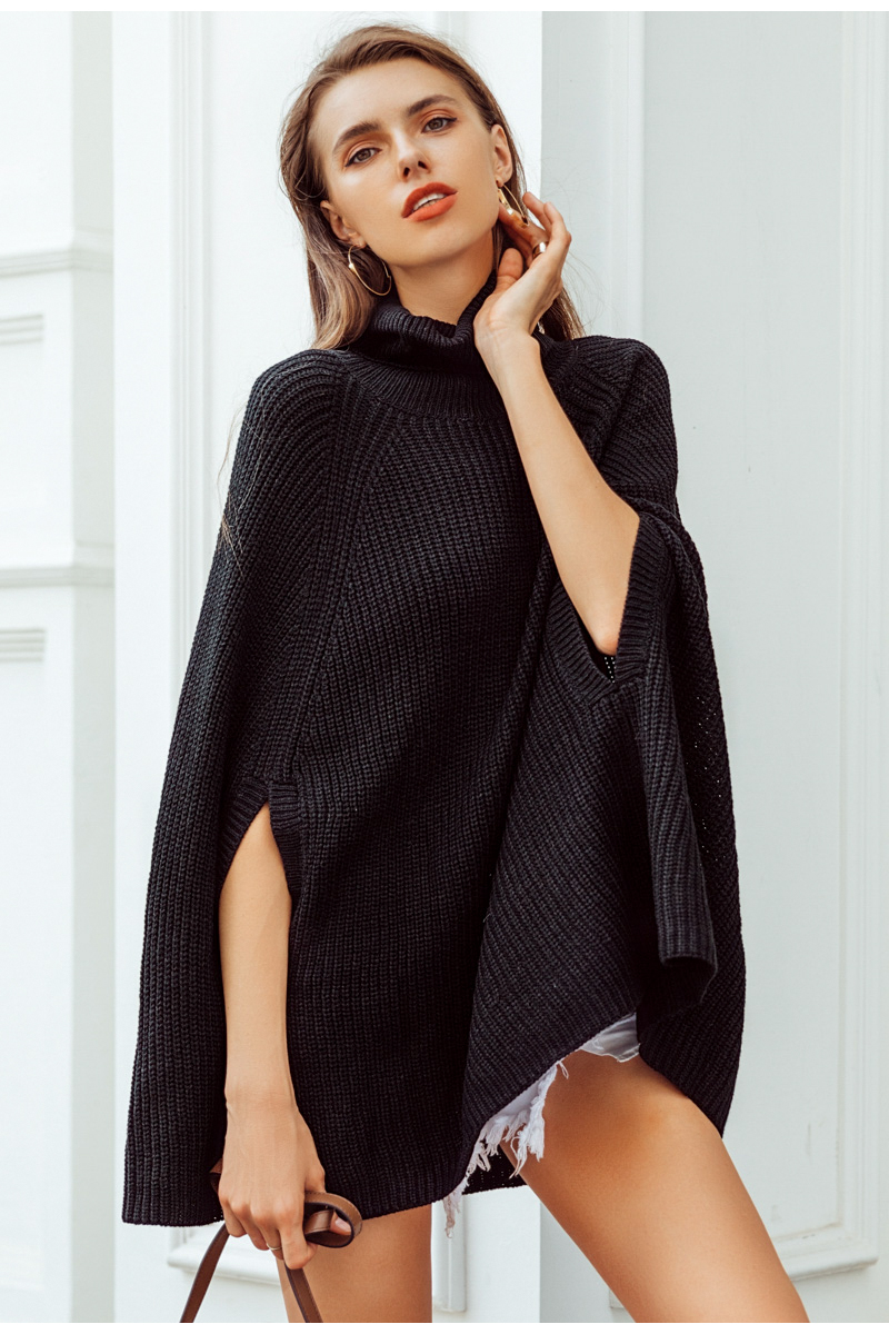 Women Knitted turtleneck cloak sweater 25