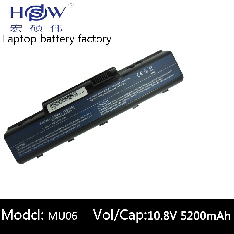 HSW 6cell laptop batteri för Acer Aspire 5732 4732Z 5516 5517 AS09A31 AS09A41 AS09A51 AS09A61 AS09A71 AS09A75 D525 D725 batteri