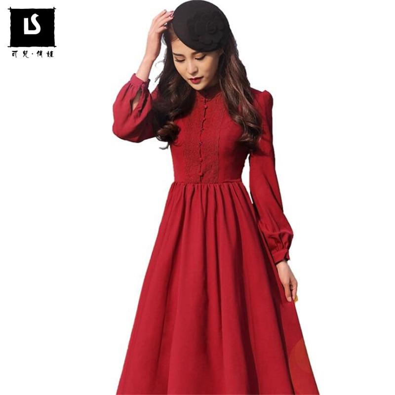 Autumn Hot Sales Brands Designer Women Party Dress Long sleeve Vintage Elegant Pendulum Lace Splice Mature