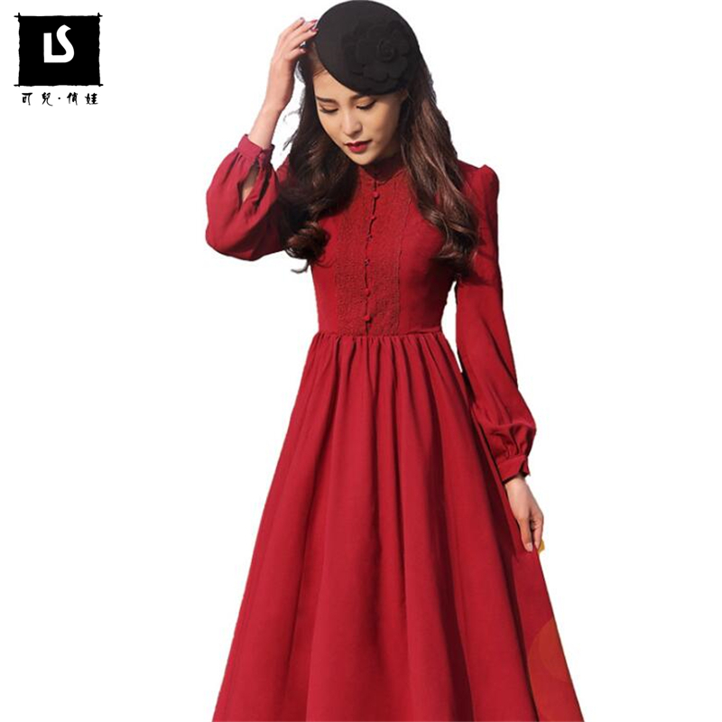 7788b962a3 Autumn Hot Sales Brands Designer Women Party Dress Long sleeve Vintage  Elegant Pendulum Lace Splice Mature