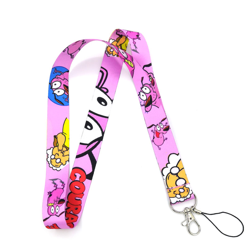 Regooly RE03 Courage The Cowardly Dog Neck Strap Lanyards ID Badge Card Holder Keychain Phone Strap Gift Ribbon Webbing Necklace