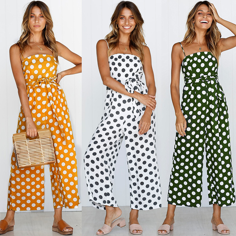 Sexy Backless Wide Leg JUMPSUIT Dot Multi Stripe ROMPER Baggy Overalls For Women Elegant Trousers Belt Tie Jumsuit Casual Summer