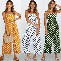 Sexy Backless Wide leg JUMPSUIT Dot Multi Stripe ROMPER Baggy Overalls For Women Elegant Trousers Belt Tie Jumsuit Casual Summer