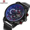Luxury Brand Naviforce Fecha de Cuarzo de Los Hombres Análogos de Acero Inoxidable Reloj de Moda Casual Deportes Relojes Hombres Militar Reloj de pulsera