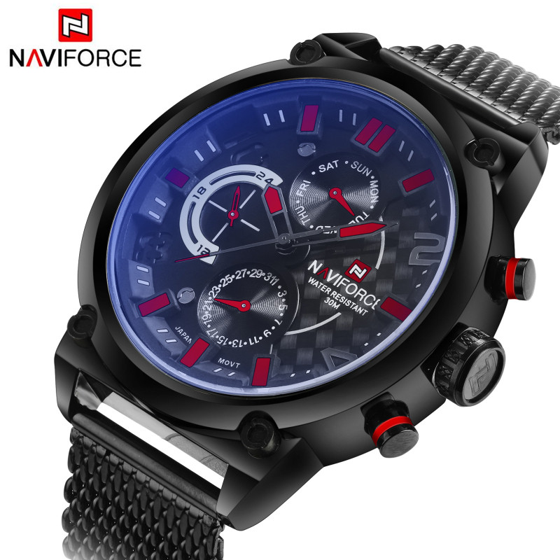 Luxury Brand Naviforce Stainless Steel Analog Men's Quartz Date Clock Fashion Casual Sports Watches Men Military Wrist Watch watches men naviforce brand fashion men sports watches men s quartz hour date clock male stainless steel waterproof wrist watch