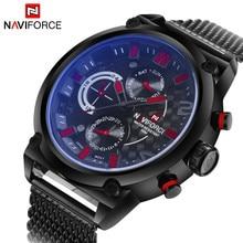 Naviforce montre de sport à Quartz pour hommes, analogique, en acier inoxydable, marque de luxe, horloge de la Date, style décontracté, montre bracelet militaire