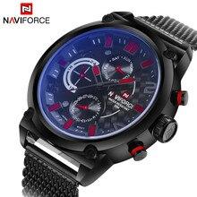 יוקרה מותג Naviforce נירוסטה אנלוגי גברים של קוורץ תאריך שעון אופנה מקרית ספורט שעונים גברים צבאי שעון יד