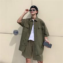 2020 letnie męskie studenckie miłośników wypoczynku czarny zielony kolor beżowy męskie zestawy luźny dres koszulka z krótkim rękawkiem + spodenki garnitur M-2XL tanie tanio Uyuk MANDARIN COLLAR Elastyczny pas Pojedyncze piersi COTTON W stylu Preppy SHORT XZ203-2-TZ01-P60 Przycisk Stałe