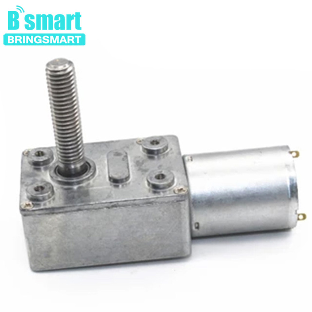 Bringsmart M8 Screw Shaft Worm Gear Motor 6V 12V 24V Mini DC Electric Machine Turbine Motor Self Lock 6/10/18/23/30/40/90/150rpm