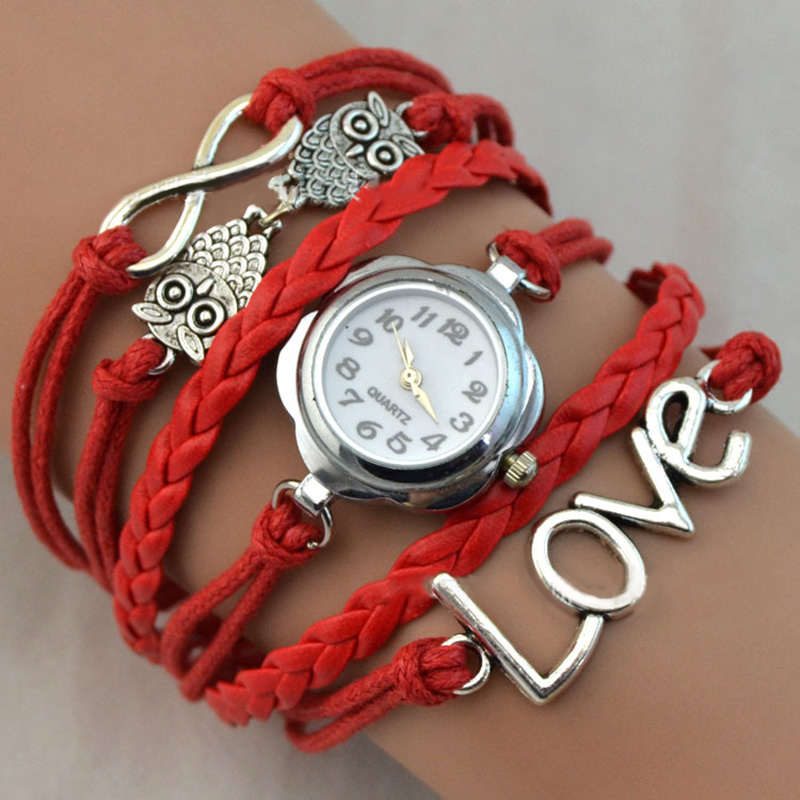 2017 Girl Bracelet Watch Infinity Love Owl Knitting Multilayer PU Leather Quartz Watches Jewelry Clock For Women Lady LL@17 cute love heart hollow out bracelet watch for women