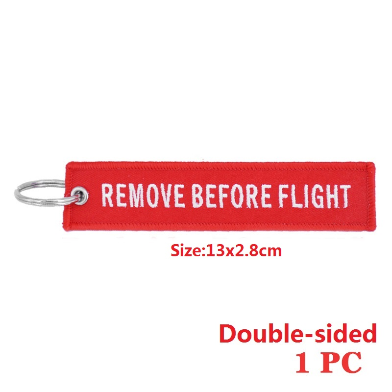 1 pc Remove Before Flight Key Chain Chaveiro Red double sided Embroidery Keychain Ring