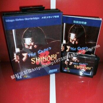 Sega MD игра-супер SHINOBI с коробкой и руководством для 16 бит Sega MD игра картридж megadrive Genesis система