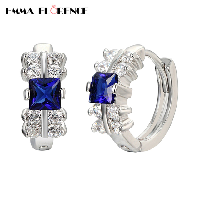 Emma Florence 2017 New Beauty Fashion Jewelry Gorgeous Hoop Earrings Women Wedding Engagement Earrings Platinum Plated Jewelry