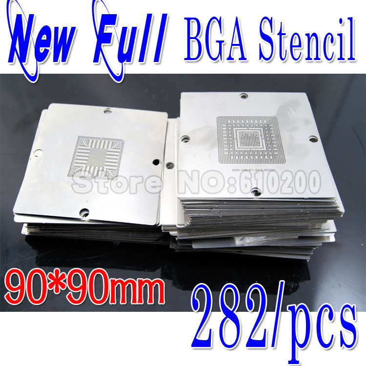 цена Newest BGA 282/pcs 90*90 BGA stencils templates Notebook and desktop Substitute 241/PCS bga reballing stencil 90x90