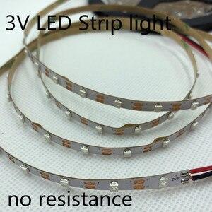 Image 1 - LED strip light 3V no resistance LED strip light 5MM 60pcs/Meter No waterproof 3V 3528 strip light cut by one pcs 3V Battery LED